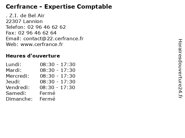 Cerfrance - Expertise Comptable à Lannion: adresse et heures d'ouverture