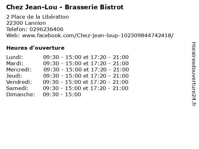 Chez Jean-Lou - Brasserie Bistrot à Lannion: adresse et heures d'ouverture
