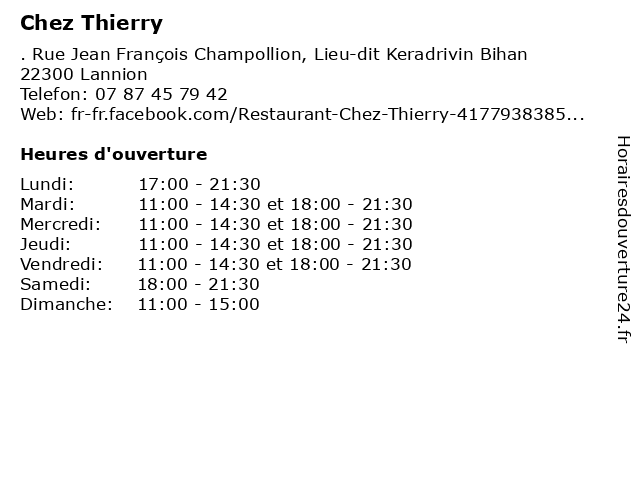 Chez Thierry à Lannion: adresse et heures d'ouverture