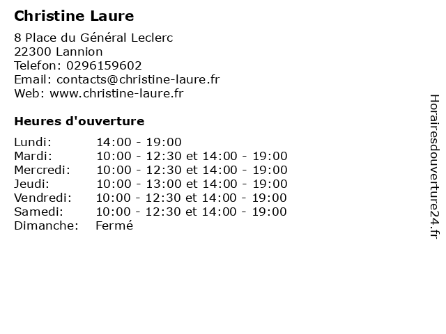 Christine Laure à Lannion: adresse et heures d'ouverture