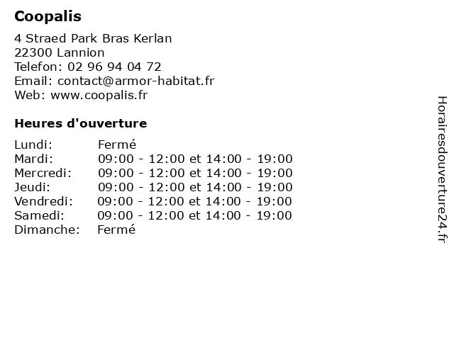 Coopalis à Lannion: adresse et heures d'ouverture