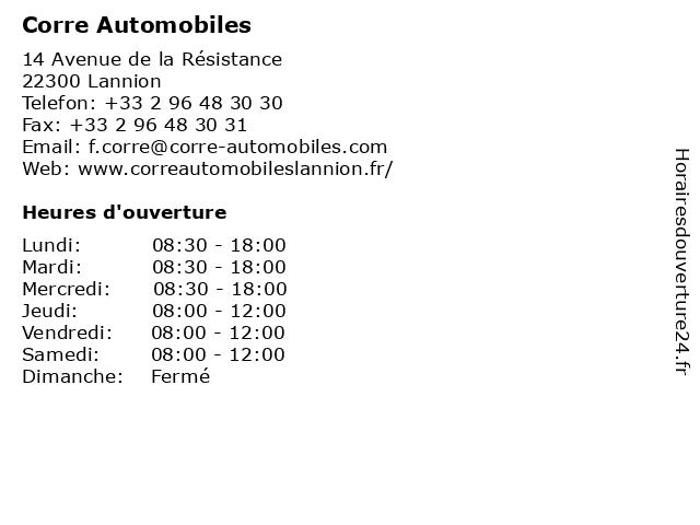Corre Automobiles à Lannion: adresse et heures d'ouverture