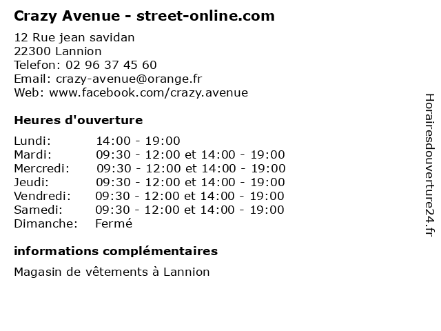 Crazy Avenue - street-online.com à Lannion: adresse et heures d'ouverture