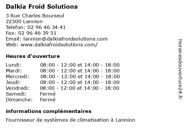 Dalkia Froid Solutions à Lannion: adresse et heures d'ouverture