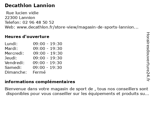 Decathlon Lannion à Lannion: adresse et heures d'ouverture