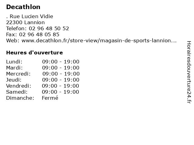 Decathlon à Lannion: adresse et heures d'ouverture
