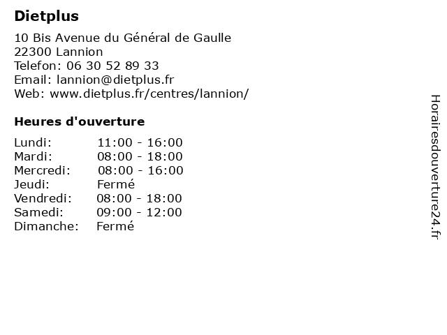 Dietplus à Lannion: adresse et heures d'ouverture