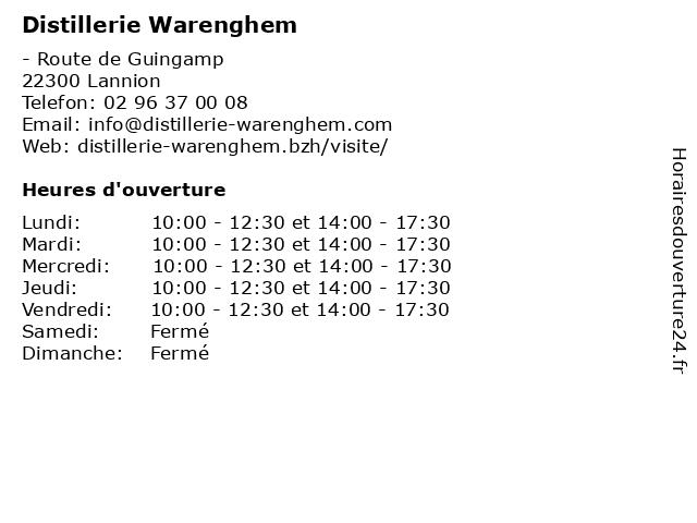 Distillerie Warenghem à Lannion: adresse et heures d'ouverture