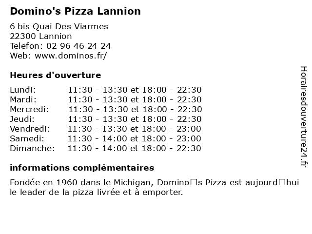 Domino's Pizza Lannion à Lannion: adresse et heures d'ouverture