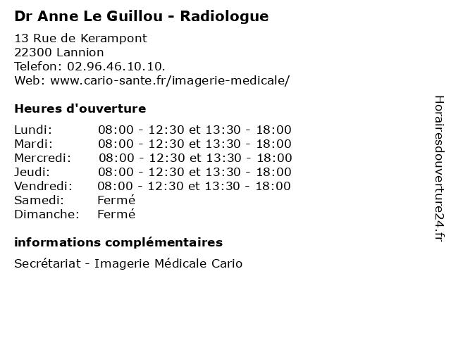Dr Anne Le Guillou - Radiologue à Lannion: adresse et heures d'ouverture
