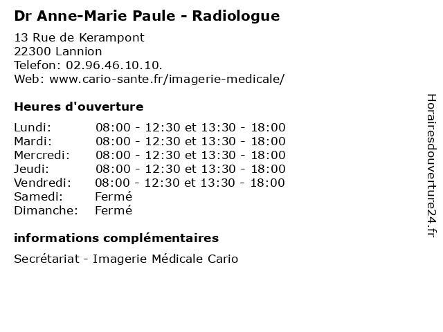 Dr Anne-Marie Paule - Radiologue à Lannion: adresse et heures d'ouverture