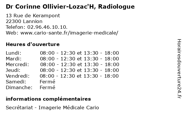 Dr Corinne Ollivier-Lozac'H, Radiologue à Lannion: adresse et heures d'ouverture