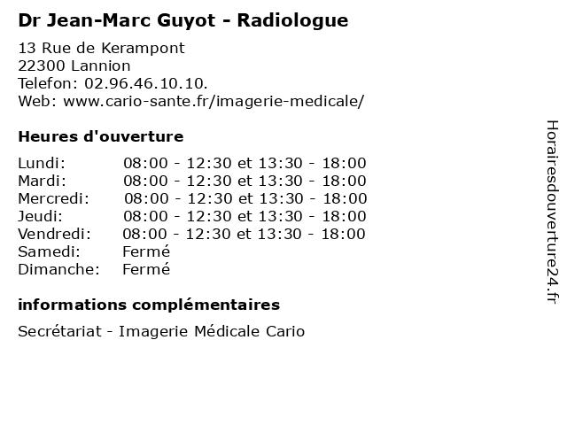 Dr Jean-Marc Guyot - Radiologue à Lannion: adresse et heures d'ouverture