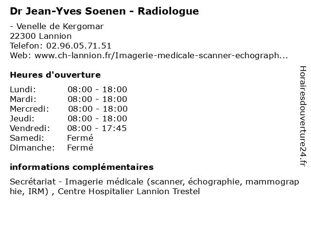 Dr Jean-Yves Soenen - Radiologue à Lannion: adresse et heures d'ouverture