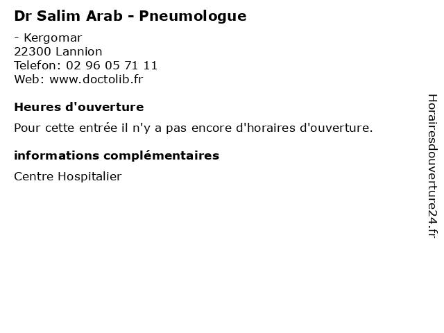 Dr Salim Arab - Pneumologue à Lannion: adresse et heures d'ouverture