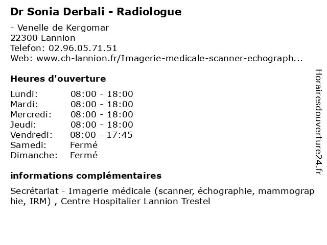 Dr Sonia Derbali - Radiologue à Lannion: adresse et heures d'ouverture
