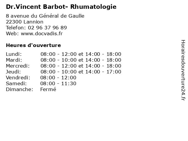 Dr.Vincent Barbot- Rhumatologie à Lannion: adresse et heures d'ouverture