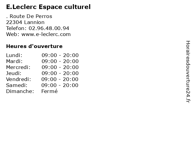 E.Leclerc Espace culturel à Lannion: adresse et heures d'ouverture