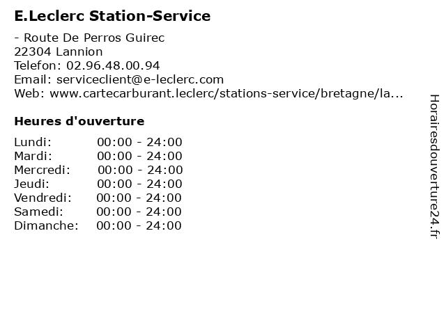 E.Leclerc Stations-Service à Lannion: adresse et heures d'ouverture