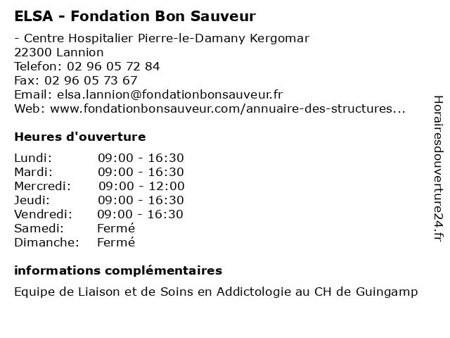 ELSA - Fondation Bon Sauveur à Lannion: adresse et heures d'ouverture