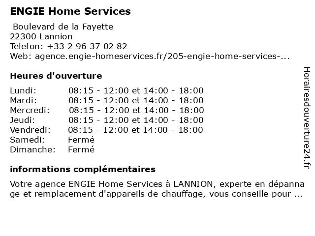ENGIE Home Services à Lannion: adresse et heures d'ouverture