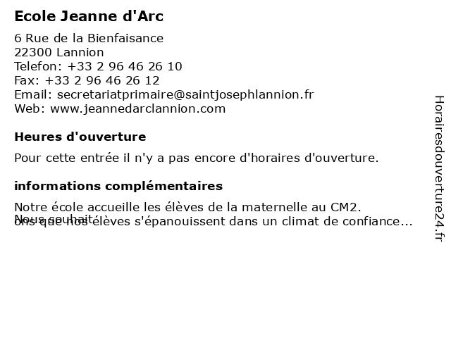Ecole Jeanne d'Arc à Lannion: adresse et heures d'ouverture