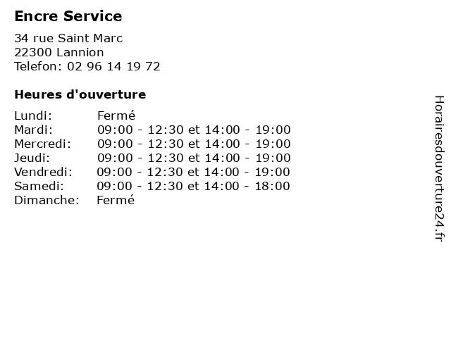 Encre Service à Lannion: adresse et heures d'ouverture