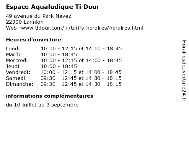 Espace Aqualudique Ti Dour à Lannion: adresse et heures d'ouverture