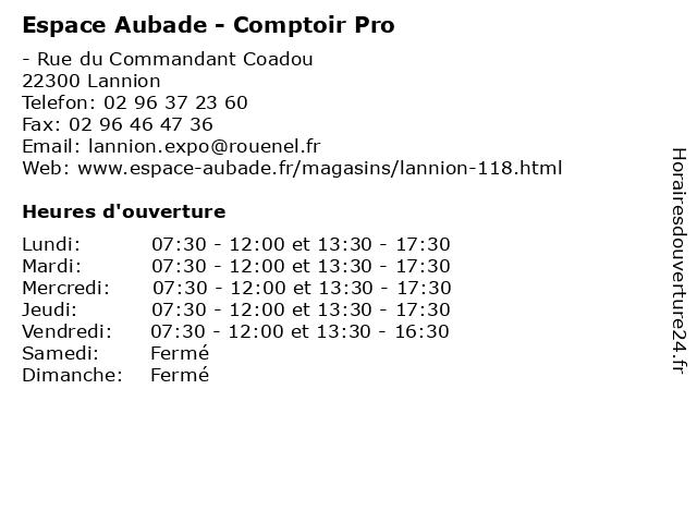 Espace Aubade - Comptoir Pro à Lannion: adresse et heures d'ouverture