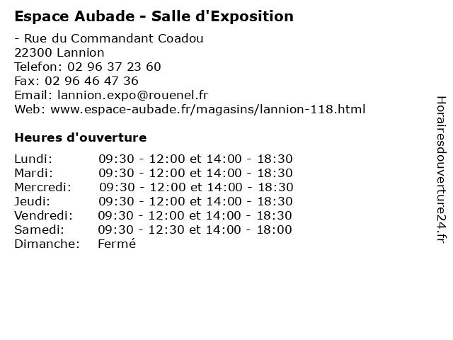 Espace Aubade - Salle d'Exposition à Lannion: adresse et heures d'ouverture