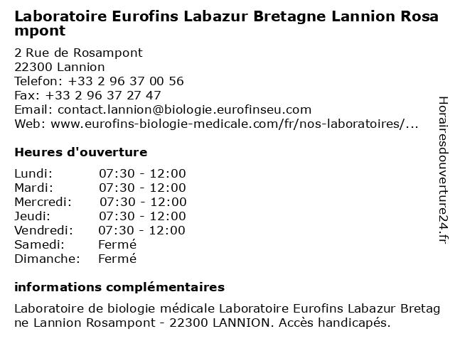Eurofins Labazur Bretagne Lannion Rosampont à Lannion: adresse et heures d'ouverture