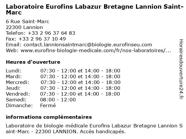 Eurofins Labazur Bretagne Lannion Saint-Marc à Lannion: adresse et heures d'ouverture