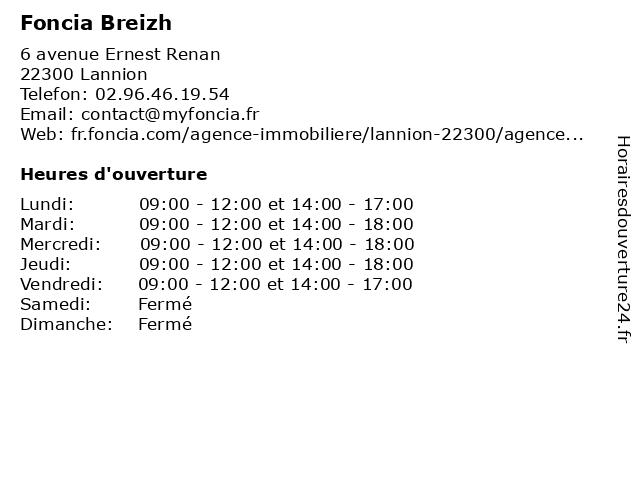 Foncia Cornaud à Lannion: adresse et heures d'ouverture
