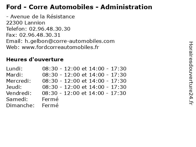 Ford - Corre Automobiles - Administration à Lannion: adresse et heures d'ouverture