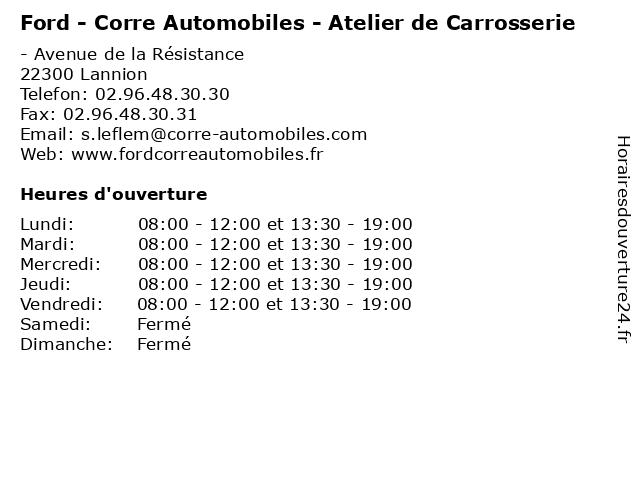 Ford - Corre Automobiles - Atelier de Carrosserie à Lannion: adresse et heures d'ouverture