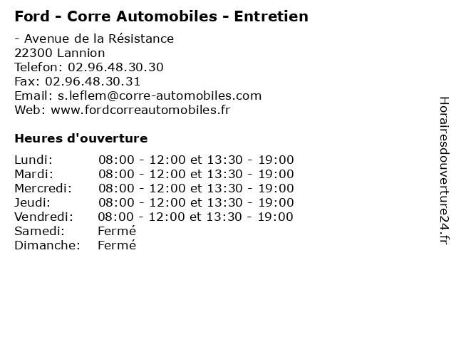 Ford - Corre Automobiles - Entretien à Lannion: adresse et heures d'ouverture