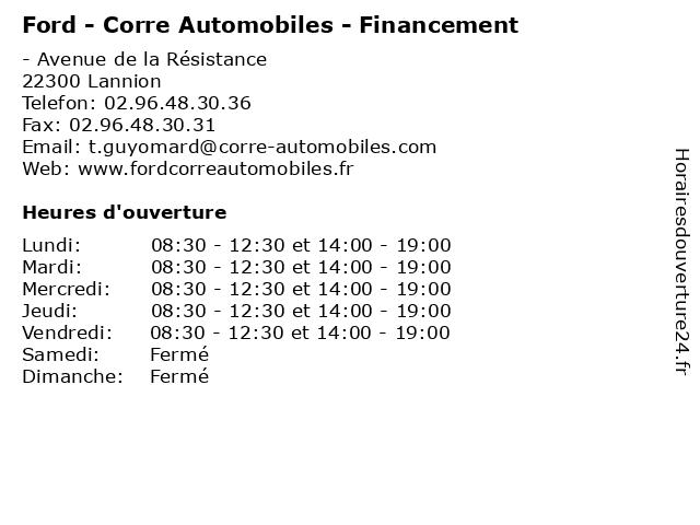 Ford - Corre Automobiles - Financement à Lannion: adresse et heures d'ouverture