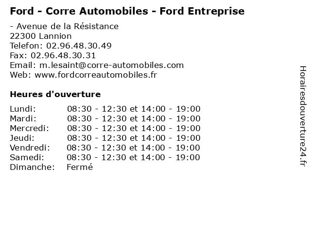 Ford - Corre Automobiles - Ford Entreprise à Lannion: adresse et heures d'ouverture