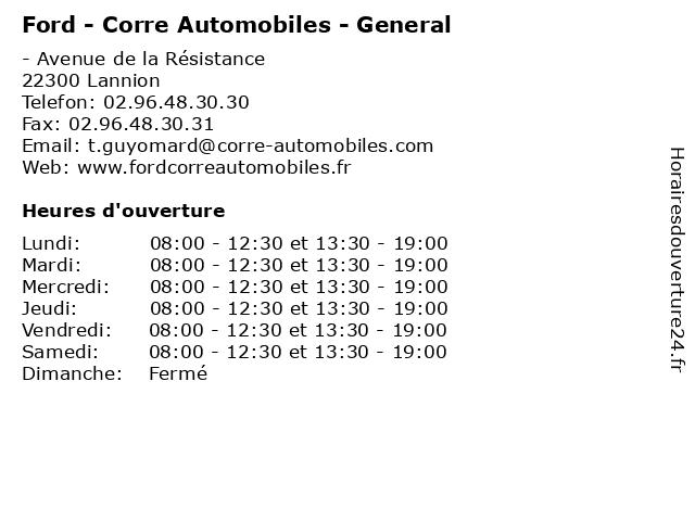 Ford - Corre Automobiles - General à Lannion: adresse et heures d'ouverture