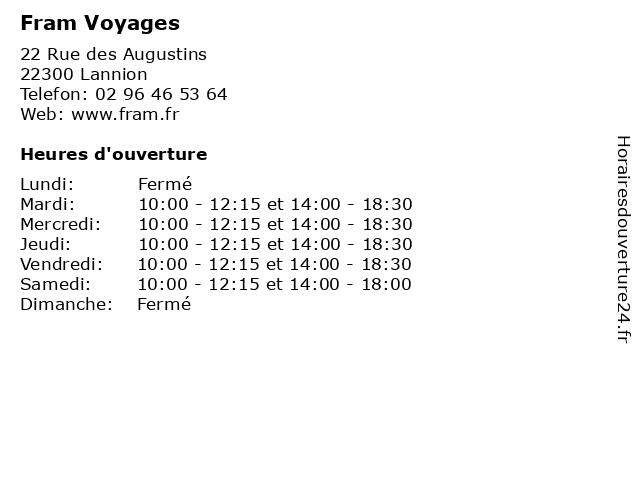 Fram Voyages à Lannion: adresse et heures d'ouverture
