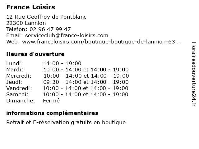 France Loisirs à Lannion: adresse et heures d'ouverture