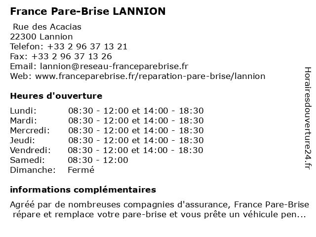France Pare-Brise LANNION à Lannion: adresse et heures d'ouverture