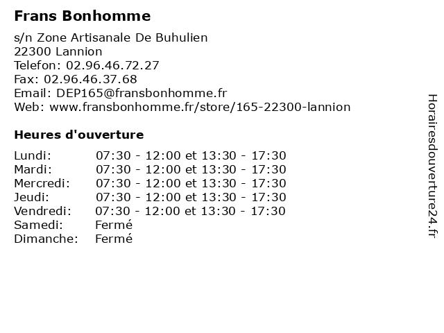 Frans Bonhomme à Lannion: adresse et heures d'ouverture