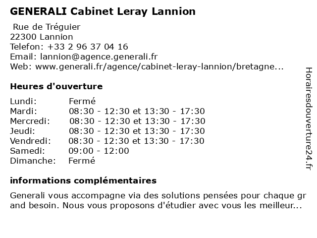 GENERALI Cabinet Leray Lannion à Lannion: adresse et heures d'ouverture
