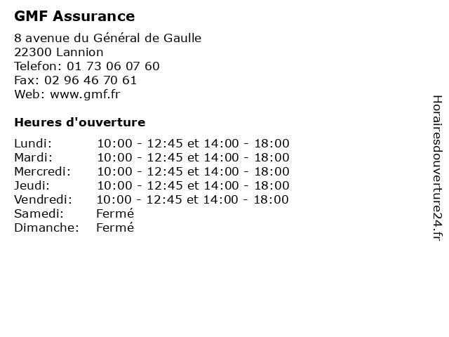 GMF Assurance à Lannion: adresse et heures d'ouverture