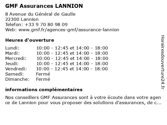 GMF Assurances LANNION à Lannion: adresse et heures d'ouverture