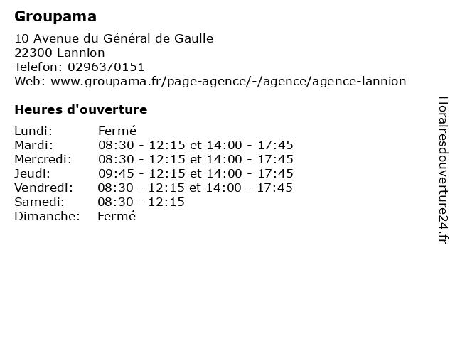Groupama à Lannion: adresse et heures d'ouverture
