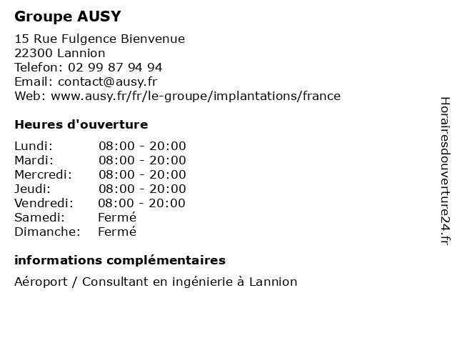 Groupe AUSY à Lannion: adresse et heures d'ouverture