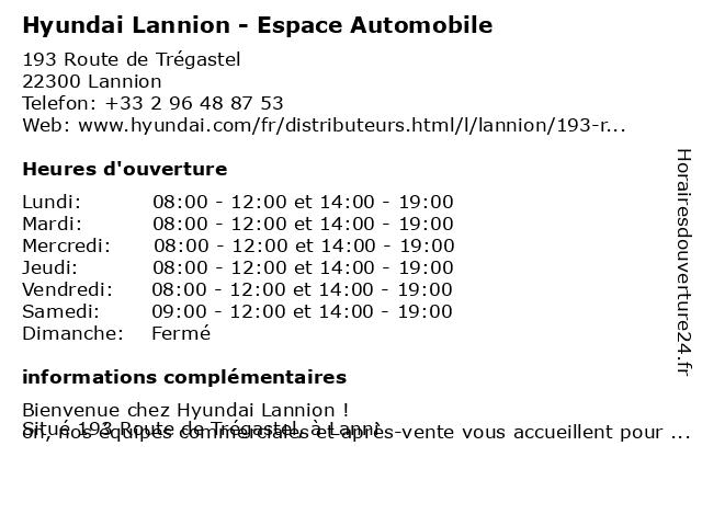 Hyundai Lannion - Jaouen Automobiles à Lannion: adresse et heures d'ouverture