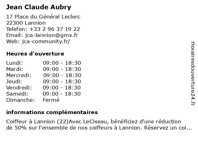 Jean Claude Aubry à Lannion: adresse et heures d'ouverture
